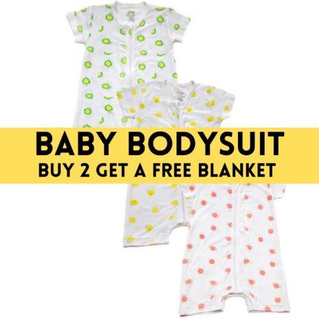 Baby Bodysuit With 3 Fruity Design - Buy 2 Get Free Blanket