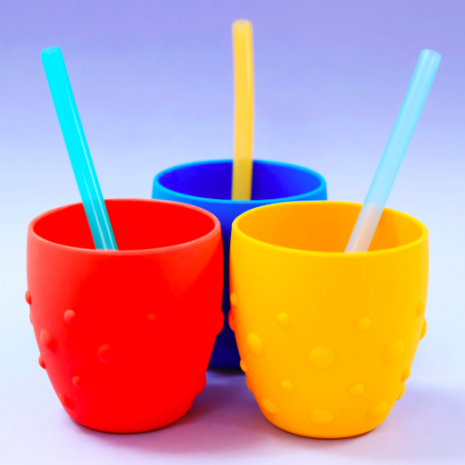 Marcus & Marcus Reusable Silicone Straws & Brush Set 4
